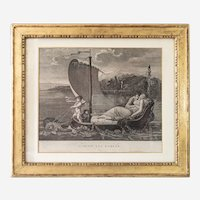 Antique Neo Classical Engraving - 19th Century Mythological Etching after French Painting By Mallet - Gilded Frame