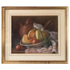 Antique Fruit Pastel Painting - 1914 Still Life Pastel of a Melon - Framed French Art