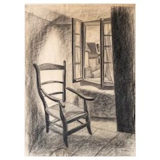 Original Charcoal Drawing - Abstract Geometric Mid Century Art - 1940s French Vintage Pencil Drawing of an Armchair