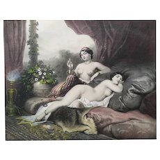 Female Nude Orientalist Lithograph - 19th French Watercolor Engraving after Orientalist Erotic Painting by Guérard