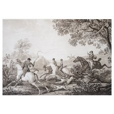 Hunting Scene on a Horse - 18th-century Etching - French Country Landscape Scene after a Painting by C. Vernet
