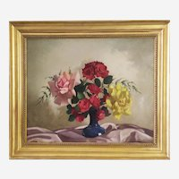 Flower Vase Oil Painting - French Mid Century Still Life Painting circa 1950