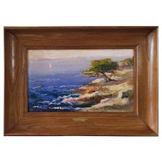 Mid Century Mediterannean Seascape Painting - French Riviera - Oil on Board