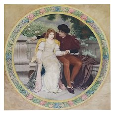 Romantic Old Masters Painting Vintage Print With Watercolor Lovers After A Painting By Perugini 19th century