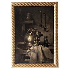 French Antique Oil Painting - Framed Original Oil On Canvas - Still Life Old Kitchen Decor - 1910s Dutch Syle