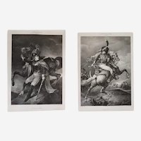 Two lithographs Military Cuirassier and Chasseur after Géricault The Battle