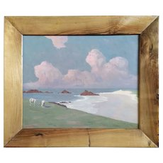 Original Landscape Oil Painting - Rose Seascape Painting - 1900 Framed Coastal Oil on Canvas - French Normandy