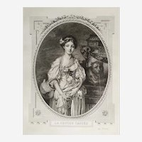 Female Portrait of a Lady - French Etching - 20th Century
