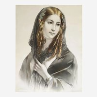 Portrait of a Spanish Lady lithograph print 19th century