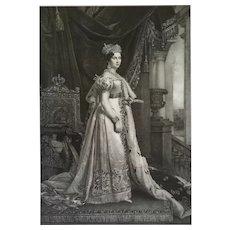 Female Portrait Of Queen Therese Koniginn Von Bayern, 19th Lithograph