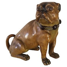 Dog Pug  Tobacco Pot Terracotta By Bernard Bloch Bohemia Dubi 19th C