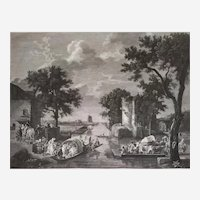 Landscape etching 19th c Grand Canal de Paris