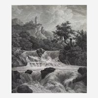 Landscape Waterfall Etching After Ruisdael 19th Century