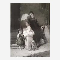 Portrait Woman And Two Children Gravure 19th By Cottin After A Painting By Constant Brochart  Printed By Goupil