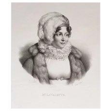 Female portrait of niece of Empress Joséphine de Beauharnais after oil painting french antique Napoleon empire