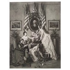 Washington's Birthday historical engraving after original oil painting by Charles Baugniet
