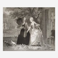 Marie-Antoinette in Trianon 19th original etching after a oil painting by Joseph Caraud