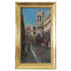 Landscape french antique oil painting Busy street in Normandy  19th c. original framed painting