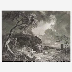 18th Century etching after a Painting by Richard Wilson Celadon and Amelia engraved by William Woollett