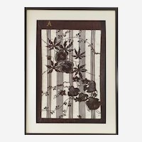 Large Japanese Katagami Framed Volubilis Flowers