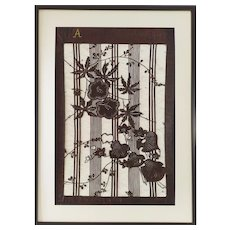 Large Japanese Katagami Framed Volubilis Flowers