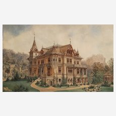 Drawing & Watercolor Of 19th Century Architecture Swiss Or Austrian Manor