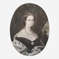 Queen portrait Empress Eugenie 19th Original History Etching Portrait Of The French Royal Family