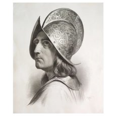 Lithography 19th century Warrior with a helmet after historical painting