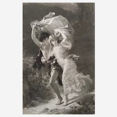 19th Romantic neoclassical etching The Storm or Daphnis et Chloe after oil painting from Metropolitan Museum