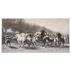 Horse market after Rosa Bonheur  Lithograph  19th Century