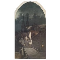 Landscape cityscape Cathedral in the night architecture  French old print aquatint  by Victor Lochelongue