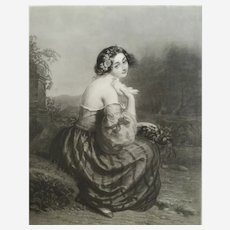 French female portrait Etching and aquatint  19th century