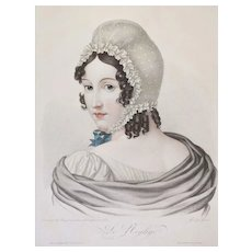 French female portrait original stipple engraving Old print 19th century
