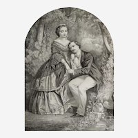 Original romantic lithography  The Honeymoon 19th  century