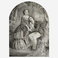 Original romantic lithography  The Honeymoon 19th  century