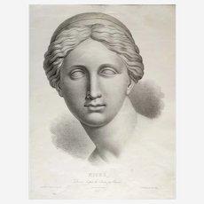 Greek mythology Niobe 19th mythological print old Lithograph of goddess