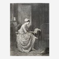 French Female romantic Portrait Original Etching 19th Century  old Print