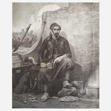 Engraving Mezzotint 19th century  after an orientalist painting by Horace Vernet, Zouave In Front Of The Siege Of Constantine