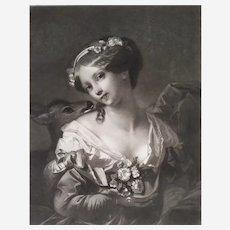 Portrait of a Woman Innocent Love Engraving after Constant Joseph Brochart 19th century