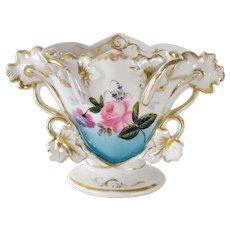 Bone china fine porcelain, Antique vase, handpainted flower bouquet, French antiques, tableware