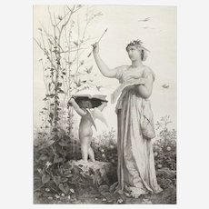 Allegory of Spring 19th c Greek mythology etching after French symblist painting