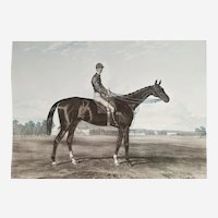 Male Portrait of a Jockey on a  horse, 19th etching print after English oil painting by Harry Hall