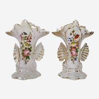 Bone china fine porcelain Pair of vases in porcelain of Paris, hand painted, 19th century, Napoléon III period