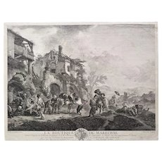 Landscape scenery with horses 18th Century original etching after dutch oil painting