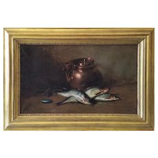 Still Life with fishes Oil on canvas  by Ferdinand Wagner german antique oil painting 19th Century