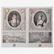 Napoleon Emperor and The Empress  Marie-Louise  pair of engravings 19 century