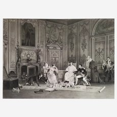Napoleon and Josephine The Repetition of The Coronation  etching dated 1896 19th century historical scene