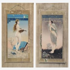 Art nouveau Female portrait Nudes The Cicada and The Ant pair of photogravures french antiques erotic art
