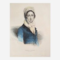 19th c French Female portrait Austrian Lady by Henri Grévedon original lithography french antiques