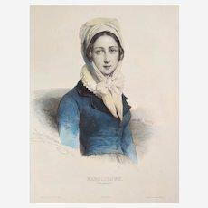 19th c French Female portrait Austrian Lady by Henri Grévedon original lithography french antiques